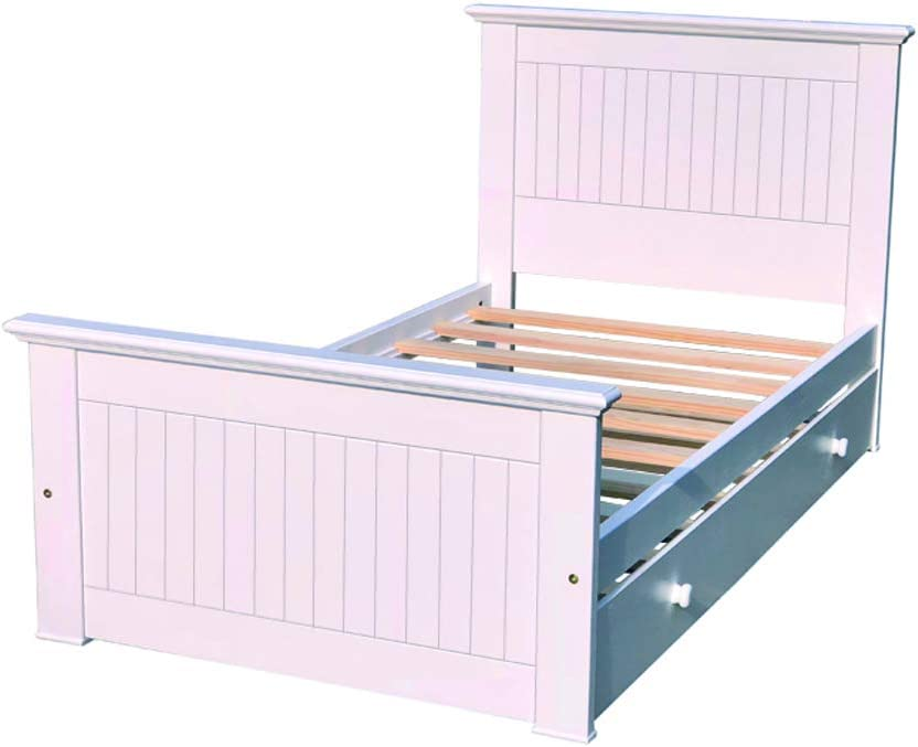 Americas Twin Bed with Trundle White Color Wooden Platform Bed Frame Trundle Bed Headboard Fully Assembled with Hardwood Slats Easy to Assemble Boy Girl Kids Bedroom Furniture