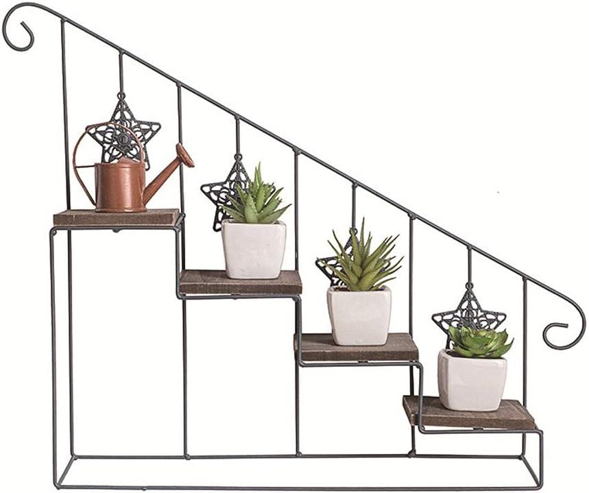 American Retro montado en la pared del estante del hierro flor Escalera soporte de madera de múltiples capas de suelo de la maceta del soporte adecuado para el dormitorio cocina Salón baño,