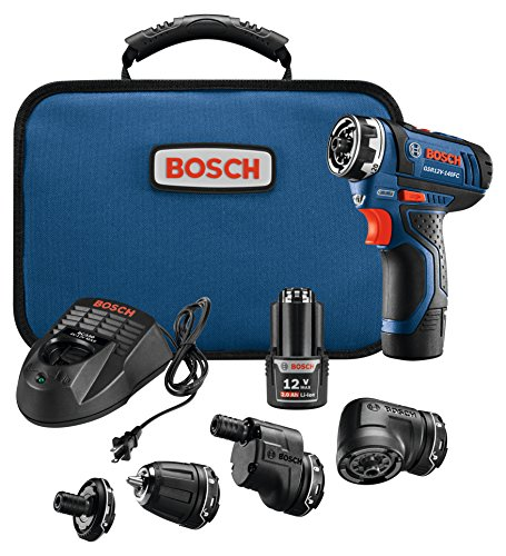 Tool 12v Power - Bosch Power Tools Combo Kit - GSR12V-140FCB22 - 12V Flexiclick 5-In-1 Drill Set  – One Tool Multiple Jobs - Power Drill Cordless Impact Driver - Perfect For Overhead Drilling, Contractors, DIY Project