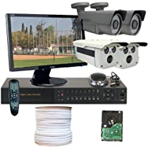 GW Security Inc 4CHH2 4 Channel High Definition DVR with 4 HD-SDI Security Cameras, 2.1 Megapixel 1080P Video Output Surveillance and Free LED Monitor (Black/White)