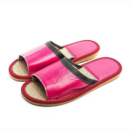 Home Women Summer Flat Leather Red Sandal Indoor Slippers Maylian Slide for Rose q7Hf76