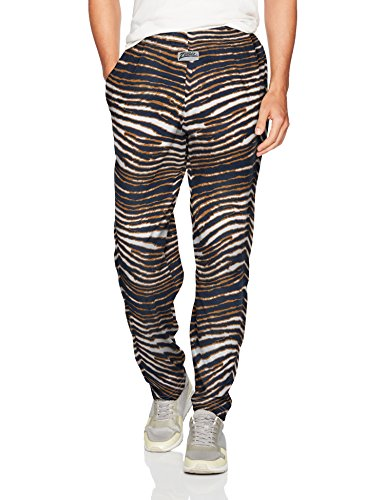 Zubaz Men's Classic Zebra Printed Athletic Lounge Pants, Navy/Metallic Gold, 2XL