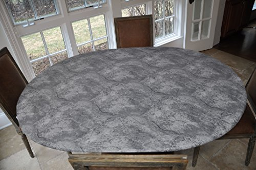 Oblong Table Cover - LAMINET ELITE Elastic Edged Print Table Pad – MARBLE GREY - Oblong/Oval - Fits tables up to 48