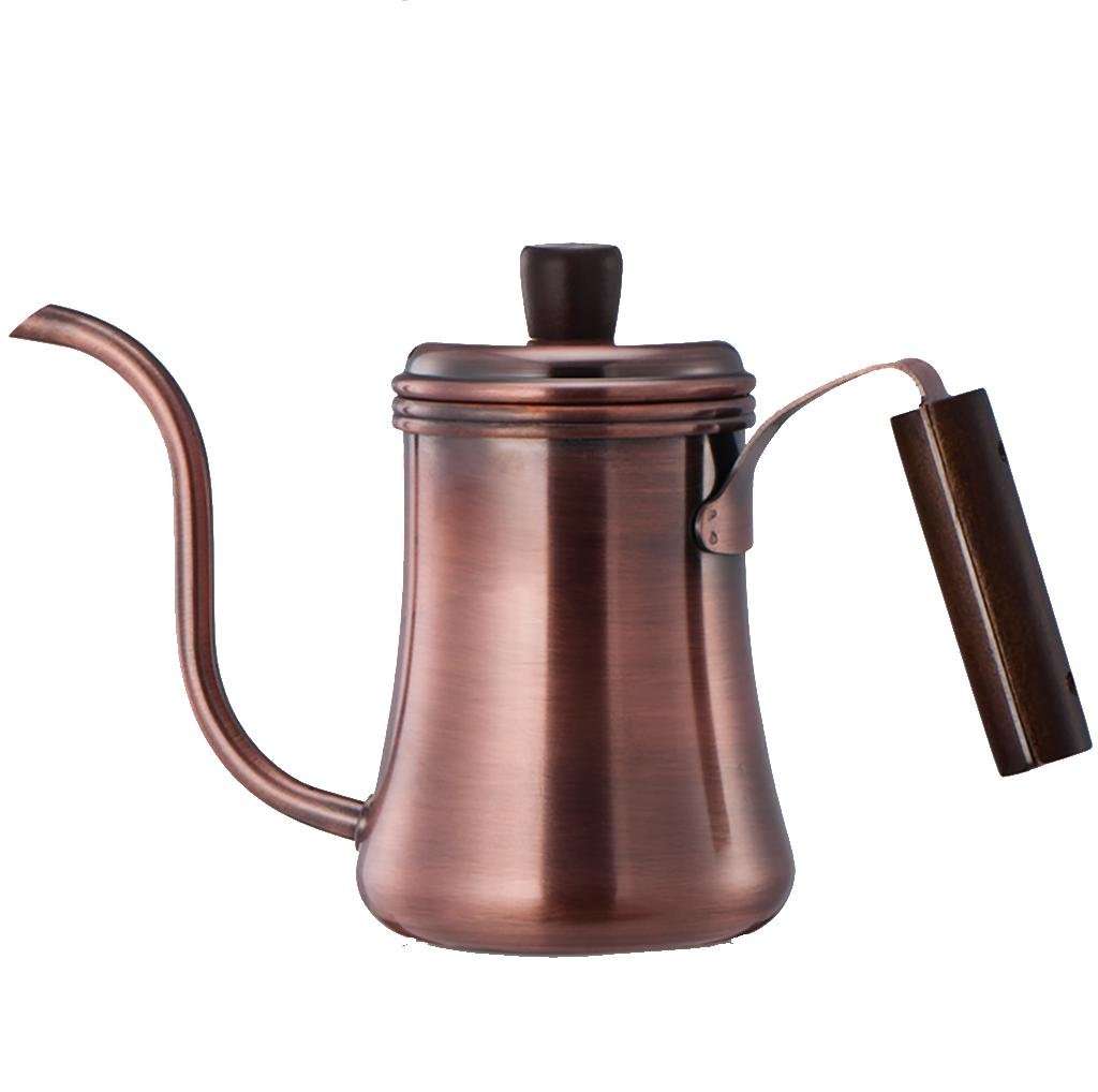 XL-CA-Wine red, narrow-necked coffee pot stainless steel pot Palace pots with narrow-necked pot hand washed pots Coffee and tea