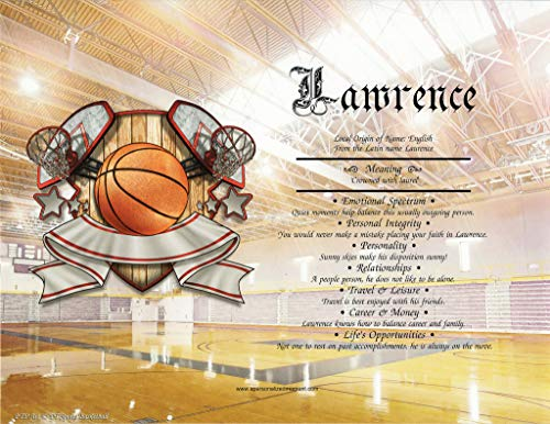 Ball Lithograph - BASKETBALL - Personalized ANY First Name Meaning Keepsake Print 8.5