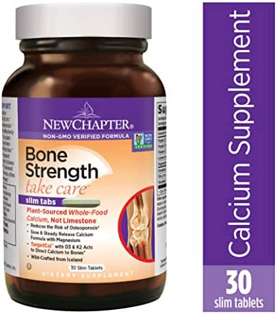 New Chapter Calcium Supplement – Bone Strength Whole Food Calcium with Vitamin K2 + D3 + Magnesium, Vegetarian, Gluten Free 30 count (10 day supply)