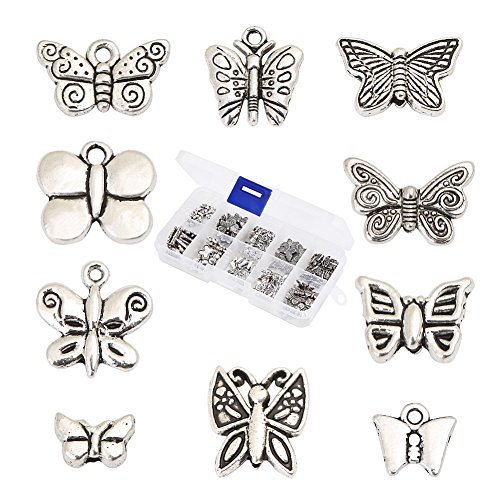 HYBEADS 100Pcs Assorted 10 Styles Tibetan Silver Butterfly Spacer Charm Beads for Jewelry Making Findings Value Pack Mix Lot with (Wings Charm Bead)