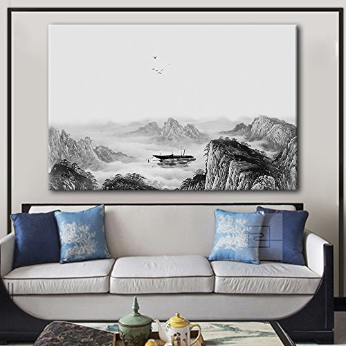 Chinese Ink Painting Landscape with Mountains and and Boat in The River