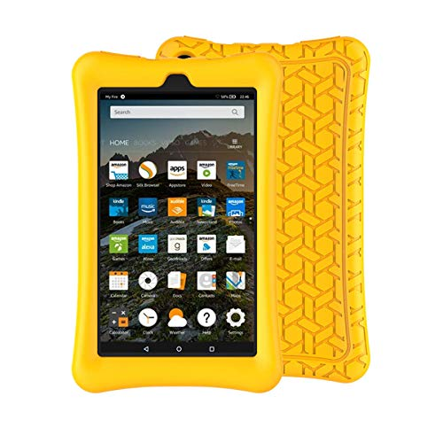 BMOUO Silicone Case for All-New Amazon Fire 7 Tablet (7th and 9th Generation, 2017 and 2019 Release) - Upgraded Comb Version Kids Friendly Light Weight Anti Slip Shock Proof Protective Cover, Yellow