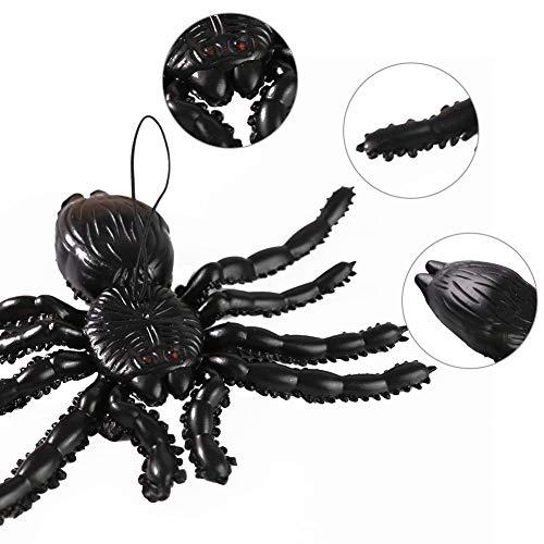 HAKACC Halloween Fledermäuse, 4 Stück Hängende Fledermäuse und 2 Stück Halloween Spinne Hängende Spinne Spuk-Gummi für Halloween Party Dekoration Kostüme