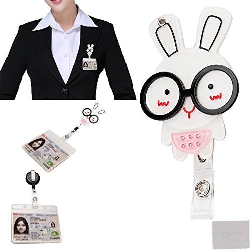 xhorizon ™ Fashionable Hot Pink Rabbit Bunny Wearing Glasses Cute Lovely Adorable ID/IC Badge Belt Clip Reel Flexible Retractable Holder - Wearing Glasses Pink