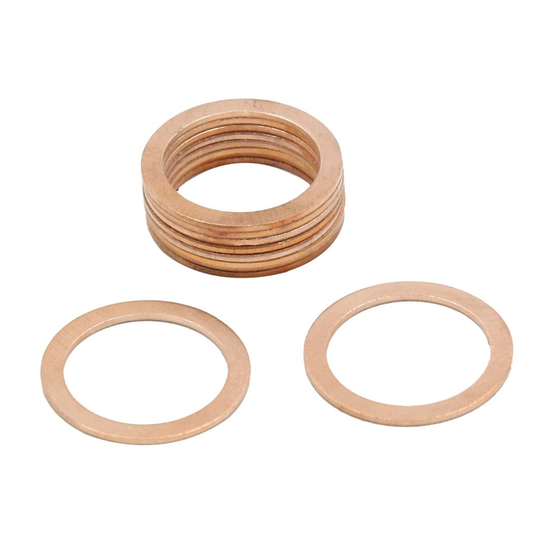 X AUTOHAUX 18mm Inner Dia Copper Crush Washers Flat Car Sealing Gaskets Rings 10pcs