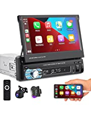 Podofo Single Din Car Stereo Compatible with Apple Carplay and Android Auto, 7 Inch Flip Out Touchscreen Car Audio with Mirror Link, Backup Camera, Bluetooth, FM Radio, Steeling Wheel Control, USB/TF/AUX Port