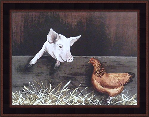 Bacon and Eggs by Billy Jacobs 15x19 Pig and Chicken Barn Country Primitive Folk Art Print Framed Picture (Country Black Woodtone)