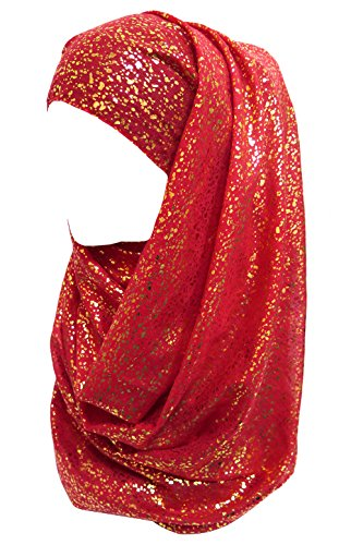 Lina & Lily Gold Glitter Plain Color Hijab Muslim Head Wrap Scarf Shawl (Red)