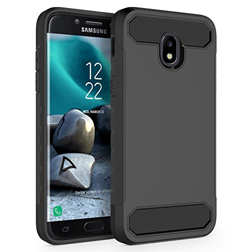 Case for Samsung Galaxy J7 2018 / J7 V 2nd Gen / J7V 2018 / J7 Refine / J7 Star / J7 Aero / J7 Top / J7 Crown / J7 Aura / J7 Eon, SYONER [Carbon Fiber] Protective Phone Case Cover [Black/Black]