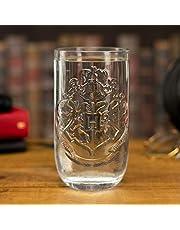 Paladone Szklanka Hogwart Harry Potter przezroczysta, z nadrukiem, ze szkła, w pudełku prezentowym.