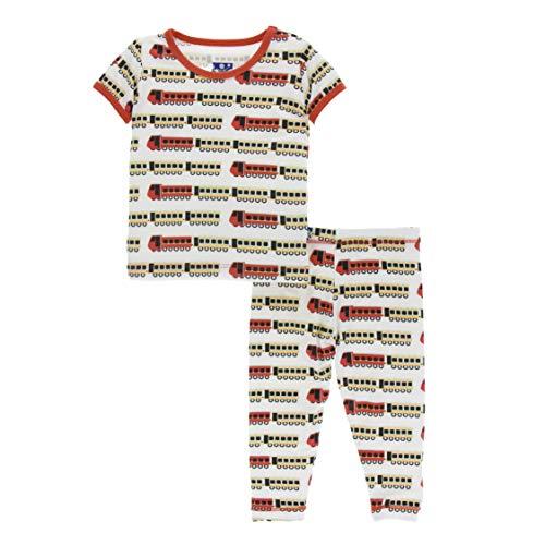 KicKee Pants Print Short Sleeve Pajama Set in Natural Indian Train, 3T