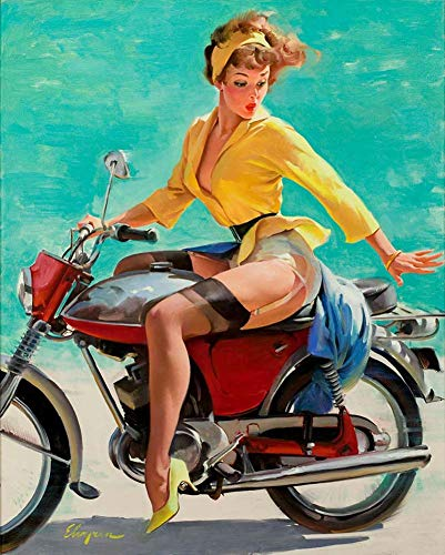 - Pin-Up Girl Canvas Wall Art Poster Reproduction Giclee Picture Print Home Decoration - Skirting The Issue 1969 by Gil Elvgren - 40X50cm (Approx. 16X20inch)