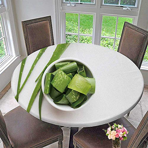 PINAFORE HOME Round Premium Tablecloth Aloe Vera Leaves Isolated on White Background Stain Resistant 50