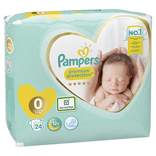 Pampers Premium Protection Size 0, 24 Nappies, Pampers Softest Comfort, Approved by British Skin Foundation, 1.5-2.5 kg,6 x 24 couches