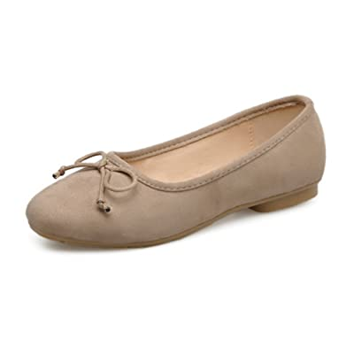 1TO9 Womens Bows Low-Cut Uppers Round-Toe Suede Flats Shoes