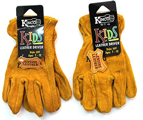 Kinco 50-Y Work Gloves, Garden Gloves for Kids (Pack of 2) Ages 7-12 - Golden Suede Cowhide Leather - Exactly Like the Adult Version