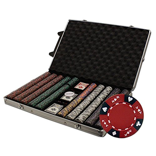 (Brybelly 1000 Ct Ace King Suited 14 gram Poker Chip Set in Rolling Aluminum Case)