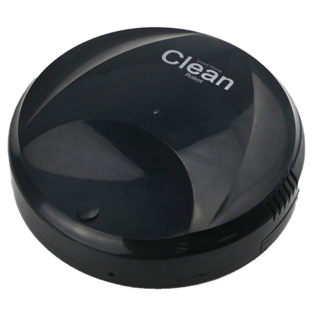Icerom Robotic Vacuum and Mop Cleaner, Slim USB Intelligent Automatic Sweeping Robot for Pet Hair, Carpet & Hard Floor (Black)