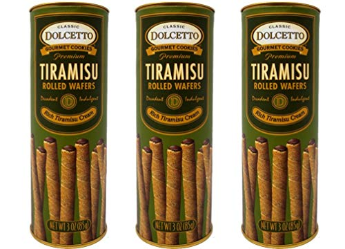 (Dolcetto Premium Cream Filled Rolled Wafers Gourmet Tiramisu Cookies - Pack of 3 (3 Ounces))