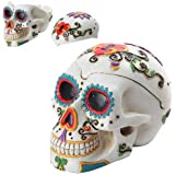 Day of The Dead Themed Skull Hand Painted Resin Ashtray, White