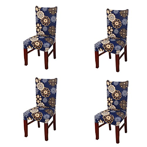 Jiuhong Stretch Removable Washable Short Dining Chair Protector Cover Slipcover, Style 14, 4 Pack ()