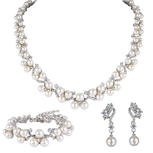 (EVER FAITH Austrian Crystal CZ Simulated Pearl Victorian Style Necklace Earrings Bracelet Set Clear)