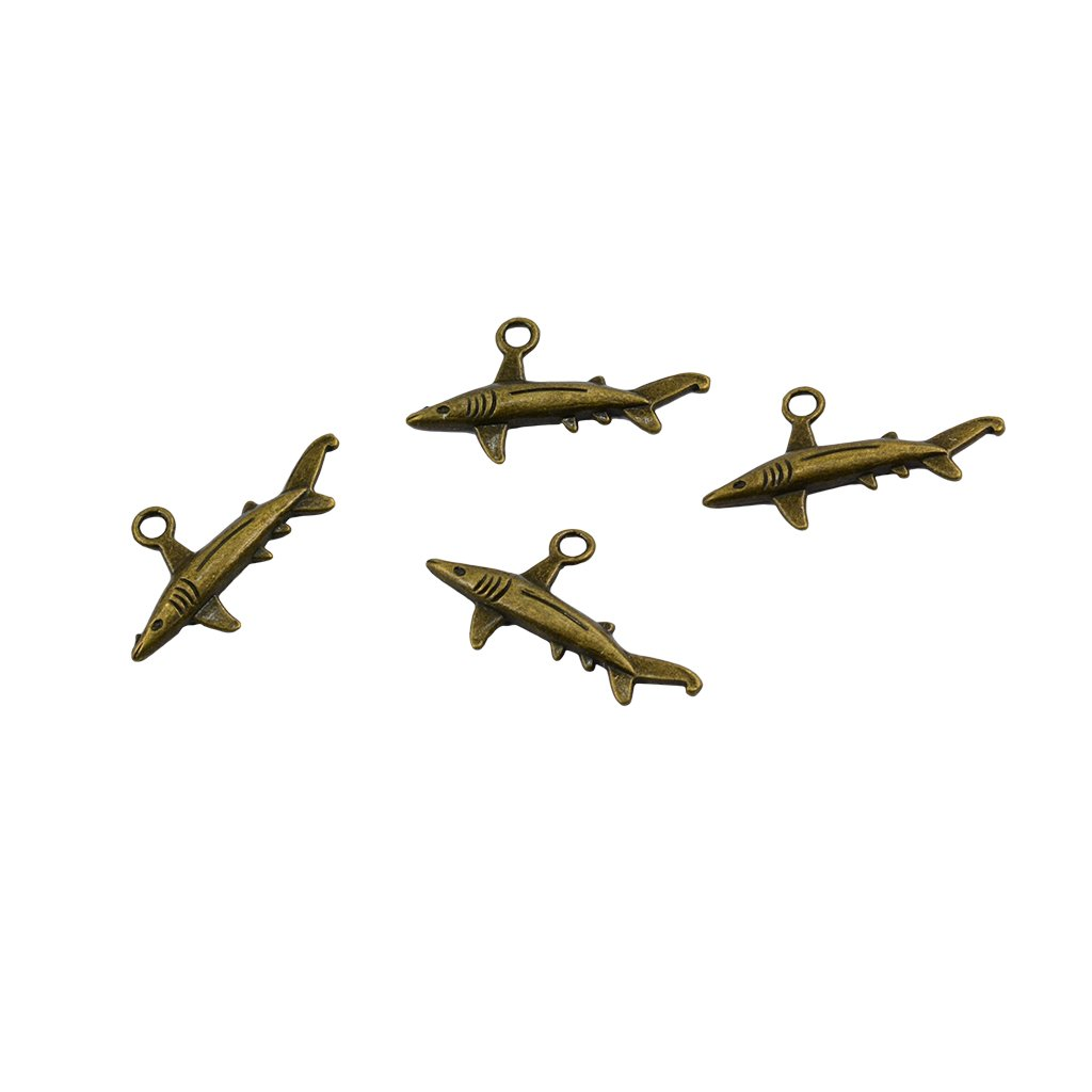 Metal Antique Bronze Colors 36 x 19 mm Mini Shark Pendants Ancient Bronze Jewelry Findings Spacer Beads DIY Craft Supplies Homyl 50 Pieces Creative Shark Charms