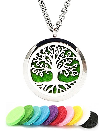 Aromatherapy Essential Oil Diffuser Necklace Tree of Life Pattern Stainless Steel Locket - Steel Link Necklace Stainless Magnetic