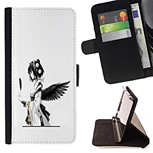 For Apple Iphone 6 PLUS 5.5 cool anime angel black feather girl Japanese Style PU Leather Case Wallet Flip Stand Flap Closure Cover