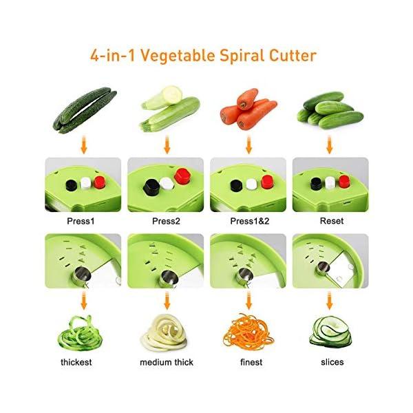 Dyroe Spiralizzatore di Verdure,Tagliapasta per Verdure, 4 in1 Affetta Verdure Spaghetti Multifunzione affetta Verdure… 3