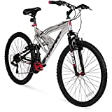 """26"""" Hyper Summit Mens Mountain Bike, Silver Aluminum Frame Bicycle Shimano Equipped, 26-inch Full Suspension"""