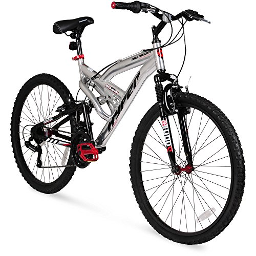Best of 26″ Hyper Summit Men's Mountain Bike, Silver Aluminum Frame Bicycle Shimano Equipped, 26-inch Full Suspension