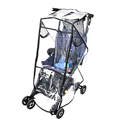 Stroller Rain Cover Stroller Weather Shield Universal Size, Waterproof, Water Resistant, Windproof, See Thru, Ventilation, Protection, Shade, Umbrella, Pram, Vinyl, Clear, Plastic