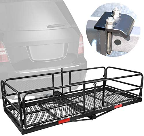 "XCAR Hitch Mount High Side Cargo Carrier Rack Luggage Basket with Hitch Tightener for Car with 2"" Receiver"