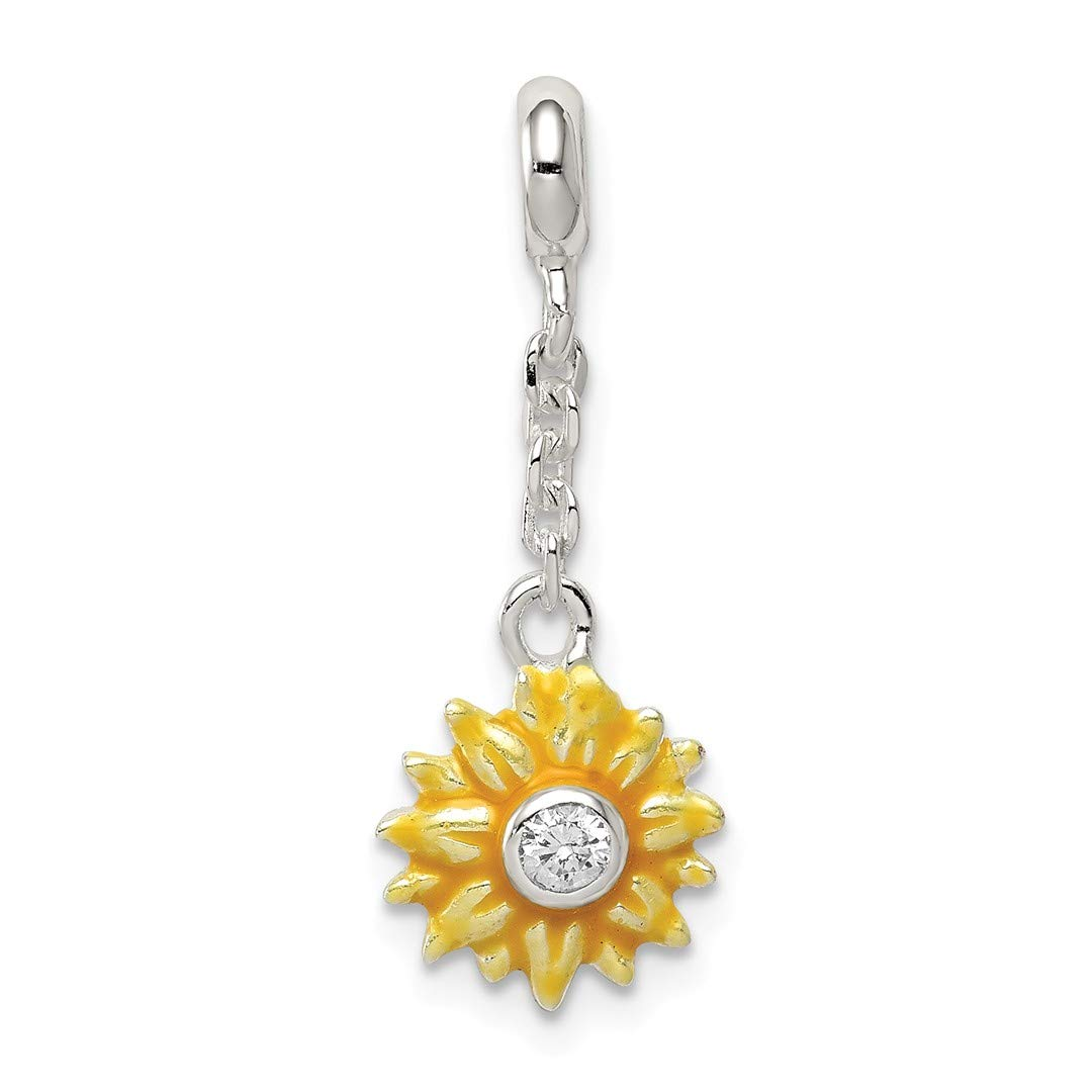 ICE CARATS 925 Sterling Silver Yellow Enameled Flower Cubic Zirconia Cz 1/2in Dangle Enhancer Necklace Pendant Charm Gardening Fine Jewelry Ideal Gifts For Women Gift Set From Heart