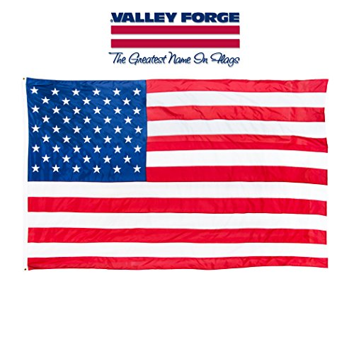 Valley Forge, American Flag, Nylon, 3' x 5', 100% Made in USA, Grommeted US American - Flags Valley American Forge