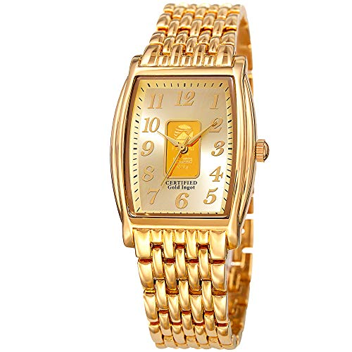 August Steiner Certified Gold Ingot Bar Men's Bracelet Watch – Gold Tone Stainless Steel Chain Band, Gold Dial, Rectangle Tonneau Case - (Tonneau Case Watch)