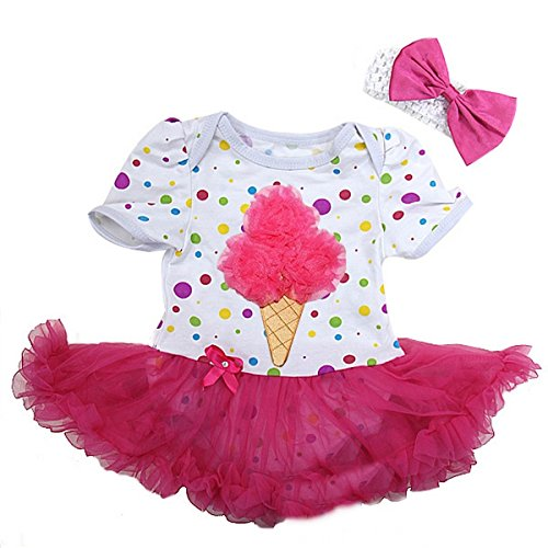 Colorful Polka Dots Pink Ice Cream Bodysuit X-Large White