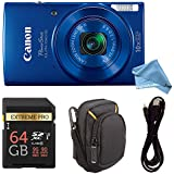 Canon PowerShot ELPH 190 Digital Camera COMPLETE BUNDLE w/10x Optical Zoom and Image Stabilization Wi-Fi & NFC Enabled + ELPH 190 Case + SD Card + USB Cable (Blue, 64GB)