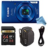 Canon PowerShot ELPH 190 Digital Camera COMPLETE BUNDLE w/ 10x Optical Zoom and Image Stabilization Wi-Fi & NFC Enabled + ELPH 190 Case + SD Card + USB Cable (Blue, 64GB)