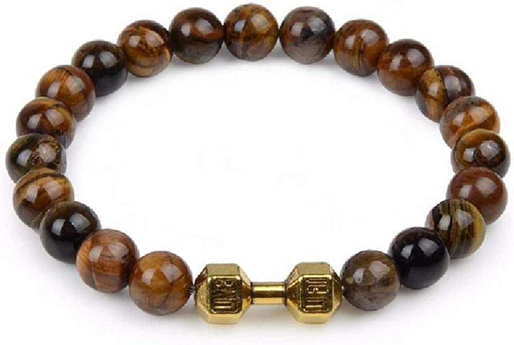 Passion Jewelry 8mm Lava Natural Stone Stretch Beads Bracelet with Alloy Dumbbell