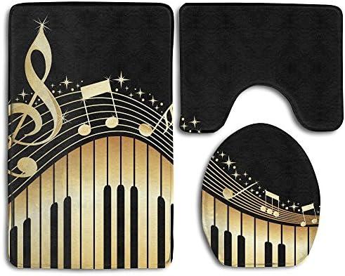 Novel Music Note Prints 3 Piece Non-Slip Bathroom Rugs Set Living Room Anti-skid Pads Bath Mat + Contour + Toilet Lid Cover / Novel Music Note Prints 3 Piece Non-Slip Bathroom Rugs Set Living Room Anti-skid Pads Bath Mat + Contour ...