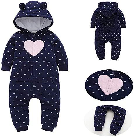 EISHOW Baby Boy Girl Cartoon Thicker Fleece Hooded Pajamas Romper Warm Jumpsuit Zipper Pockets Sleepwear Outfits